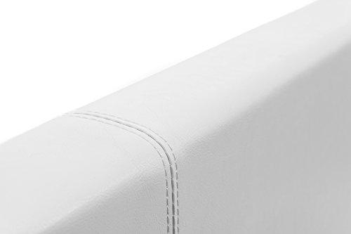 Bett – 140×190 – weiß – Bettgestell mit Aufbewahrung – Bettkasten Inhalt 798 Liter – Material A++ Qualität Lederoptik – Funktionsbett – Stahlrahmen mit Holz – Lattenrost - 5