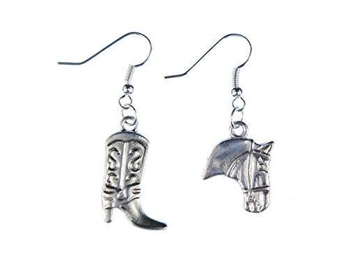 botas de vaquero occidentales pendientes y aretes cabeza de caballo de plata Miniblings Duo
