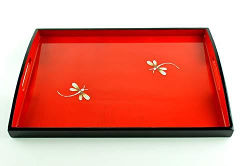 viethuy03 Plateau rectangulaire en bois fait à la main, incrusté de coquille d'œuf et plateau décoratif laqué et de service, petite taille, rouge/noir, H051S