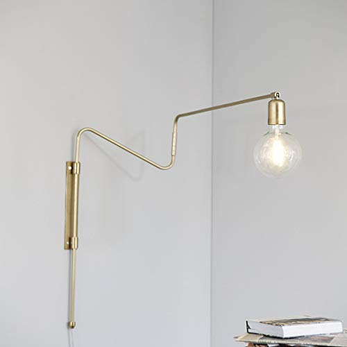 House Doctors Wandlampe, Swing, Messing, L.: 70 cm, E27 Max. 25 Watt, 2,2 m Kabel