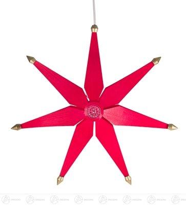 Raamdecoratie Kerstster gewoon rood, elektrische verlichting breedte x hoogte van ca. 40 cmx40 cm Erzgebirge raamdecoratie raamaanhanger