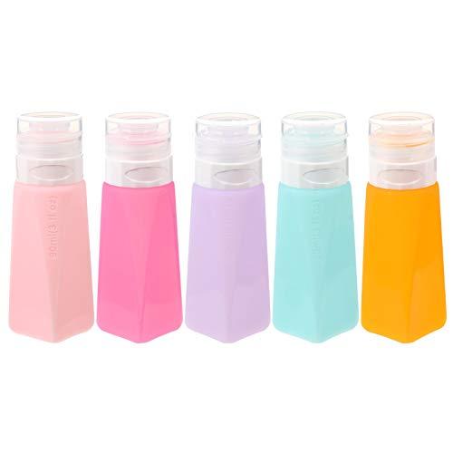 HEALLILY 5 botellas de viaje de silicona a prueba de fugas, rellenables y vacías, para almacenar lociones líquidas, champú, recipientes de champú (color mixto)