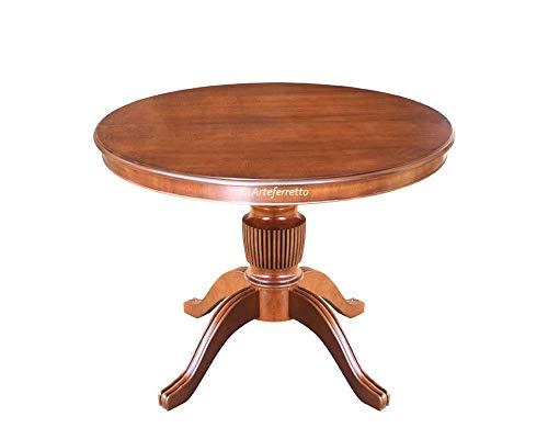 Artigiani Veneti Riuniti Runder Tisch 100 cm Durchmesser mit Zusatzplatte bis 140 cm, Tisch rund Made in Italy aus Holz vom Hersteller, H 78 cm, schnelle Montage NEU