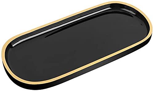 Emibele Organizador de joyería Oval resina bandeja, baño cocina aparador Vanity Tray joyería plato organizador cosmético para vela perfume, jabón champú decoración del hogar - negro y dorado