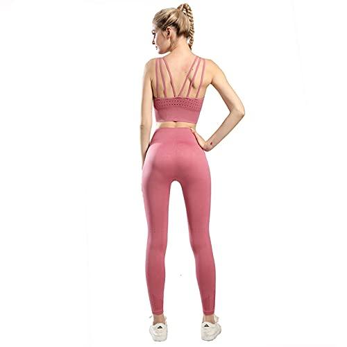 Ropa De Yoga Ropa De Entrenamiento Sin Costuras para Mujer Ropa Deportiva Medias De Fitness para Mujer Sujetador Deportivo Push-Up Grueso Conjunto De 2 Piezas S Pinkset