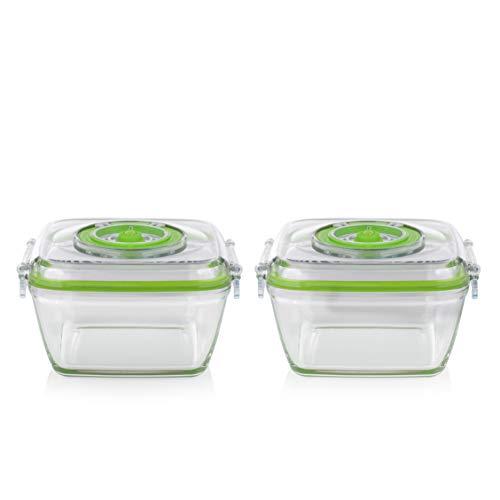 Princess 492983 - Recipientes pequeños para conservación de alimentos, 2 unidades, 0.7 litros, Complementos de la envasadora manual al vacío 492985