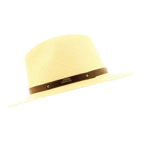 VotrechapeauCuenca –Sombrero Panamá de paja, Sombrero Fedora, ala baja blanco 61 cm