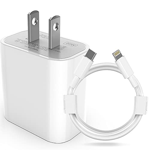 GNUADZ?Apple MFi Certified? iPhone Fast Charger, 20W PD Fast Type C Wall Charger Adapter with 6FT USB C to Lightning Cable Sync Cable Compatible iPhone 12 Mini Pro Max/11Pro Max/XS/XR/X/iPad Pro More