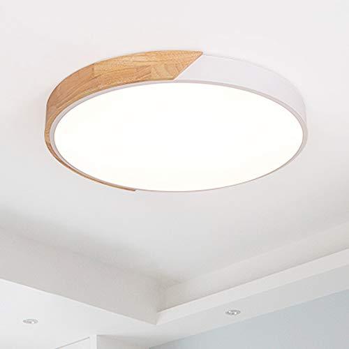 24W LED Deckenleuchte Bürodeckenlampe voll dimmbar mit Fernbedienung, modern runde Lampe für Wohnzimmer Schlafzimmer Büro (Holz & Metall)
