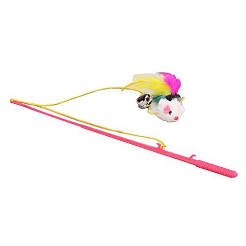 FLAMEER Haustier Spielzeug Glocke Federn Maus Spielangel Katzenangel Glocke Spaß - Spielzeug 1