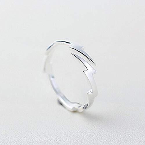 LXLLXL Offene Ringe Für Damen,Öffnen Trendy Vintage Einstellbar Einfache Leuchtenden Blitz Weihnachten Geschenk Schmuck Für Hochzeit Verlobung Party Frauen Männer Paare