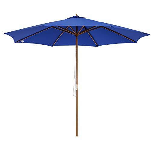 Outsunny Holz Sonnenschirm 300x245cm Holzschirm Gartenschirm Balkonschirm Blau