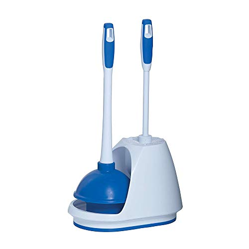 Mr. Clean 440436 Combo, White/Blue Plunger and Bowl Brush Caddy Set, Toilet, Turbo Plunger & Brush