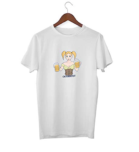 KLIMASALES Oktoberfest bier Wiesn Theresienwiese meisje tieten KK017190 shirt T-shirt voor mannen - wit