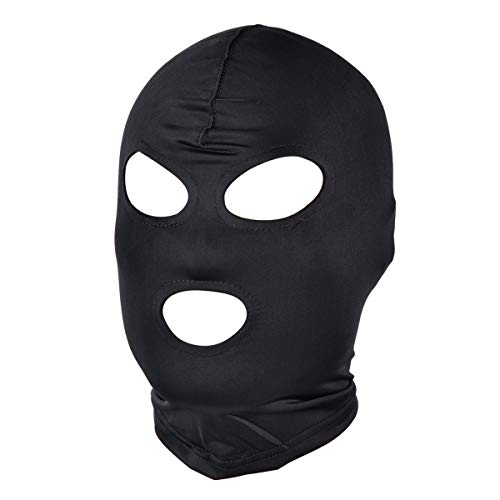 Boogaa Full Cover Zentai Hood Mask Elastic Black Breathable Open Eyes Open Mouth Mask Cosplay Costume Hood Unisex Headgear