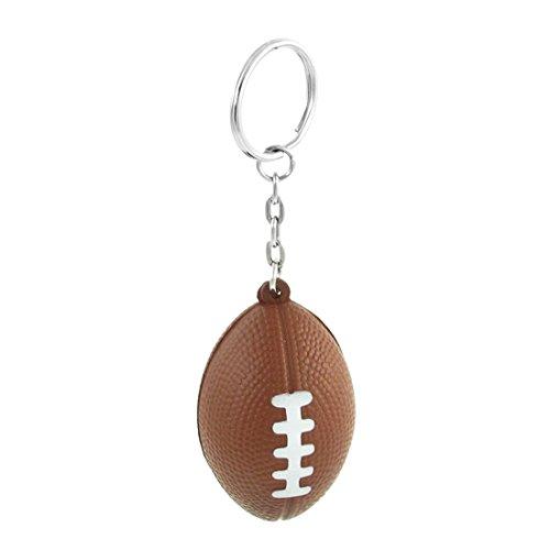 Brown American Football Dangling Metal Link Key Chain Split Keyring