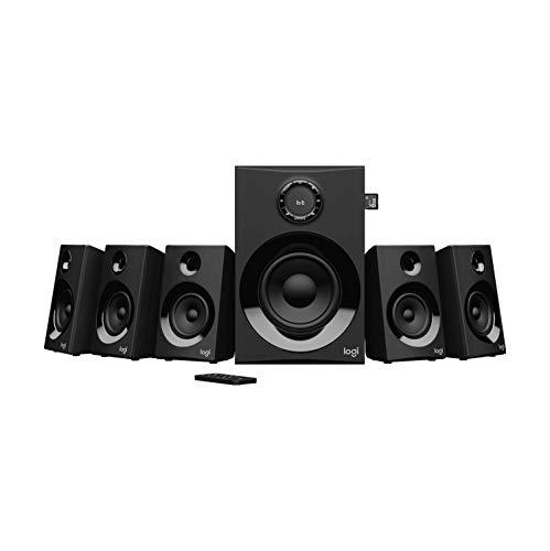 Logitech Z607 5.1 Surround Sound Lautsprecher (Bluetooth, Cinch, 160 W Spitzenleistung, Fernbedienung, kompatibel mit Computern, PCs, Fernsehern, Telefonen und Tablets) (Generalüberholt)