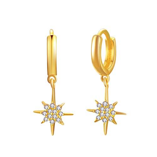925 Sterling Silber Star Charm Kleine Creolen, 18 Karat vergoldet Drop Dangle mit Zirkonia für Frauen Mädchen, Schmuck Geschenke