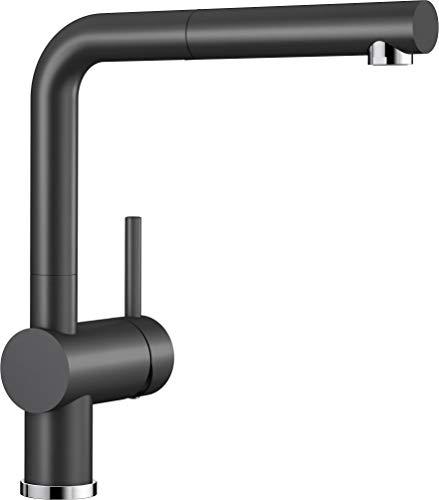 BLANCO LINUS-S - Küchenarmatur im Keramik Look mit herausziehbarem Auslauf - Hochdruck - Schwarz - 516708