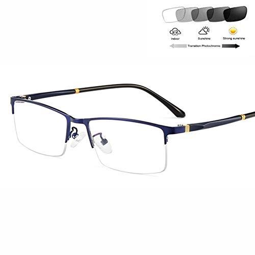 HQMGLASSES Herrenultraleichten Halbrahmen Lesebrille - intelligente Sonnenbrille photochromen Anti-UV rechteckigen Metallrahmen asphärischen Linsen Harz Reader Dioptrien+ 0,5-+3,5,Blau,+0.5