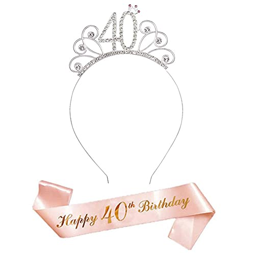 Cisurt Corona 40 Cumpleaños Mujer Fajín y Tiara para 40 Cumpleaños para Mujer Accesorios para Fiesta de 40 Cumpleaños Regalos de 40 Cumpleaños Decoración de Cumpleaños para Niñas y Mujeres