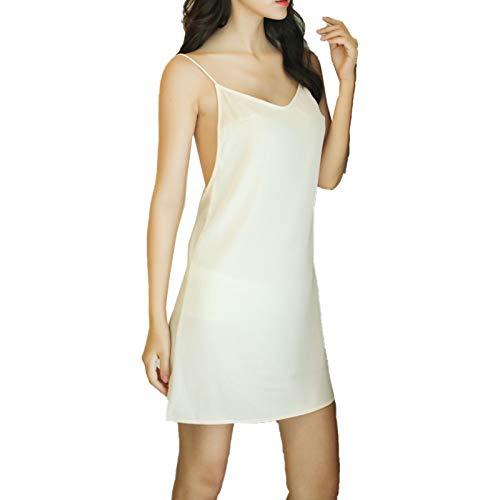 TIANLUY Lingerie for Women Lace Babydoll Sleepwear Boudoir Outfits Nightgown Sling Nightdress(White/One Szie(40-60KG))
