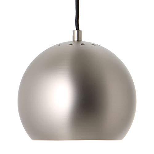 Ball Pendelleuchte Ø18cm Metallic, satingebürstet matt innen weiß H 16cm Baldachin satingebürstet HxØ 2x10cm Stoffkabel schwarz 200cm