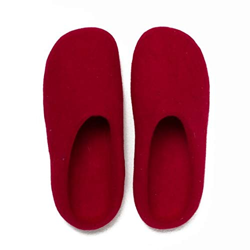 (Red, S (6-7.5 US)) Home slippers Women`s Handmade Natural Felt Wool Slippers, Lightweight, Open Heel, Hypoallergenic with Non-slip Rubber Sole