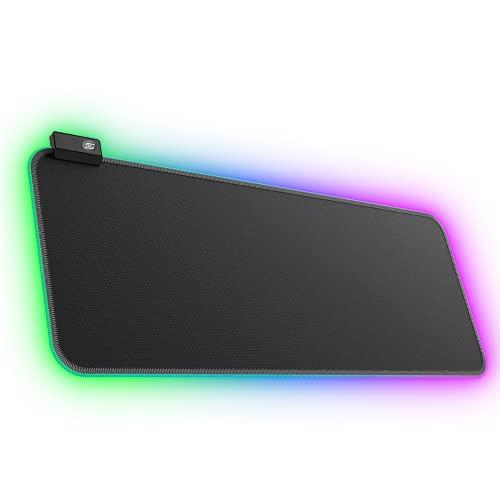 Tappetino per Mouse Grande, iTopschy RGB Gaming Mouse Pad XXL Desk Pad con Panno Anti-Sfilacciamento e Resistente all'Acqua Tappetino Tastiera con Luce Respiratoria LED Mousepad Base, 800×300 mm