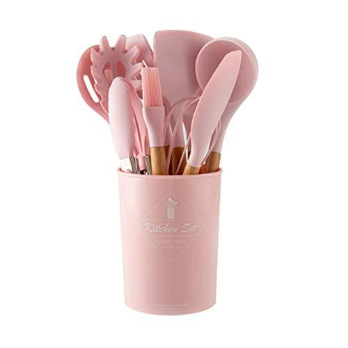 Juego de utensilios de cocina de 11 piezas con mango de madera maciza con cubo de almacenamiento, color rosa