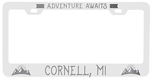 R and R Imports Cornell Michigan Laser Engraved Metal License Plate Frame Adventures Awaits Design