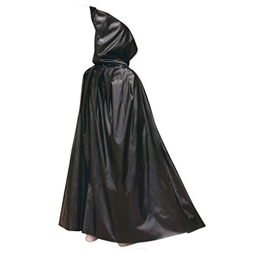 VIccoo - Capa Larga con Capucha para Disfraz de Vampiro de Pascua para Halloween, Fiesta de Navidad, Color Negro