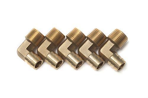 LTWHOME Messingstangen-Verbindungsstück 90° mit Messingbogen 1/2 Zoll männlich BSPT x 5/8 Zoll (16 mm) Schlauch ID Kraftstoff Wasser für Boote (5 Stück)