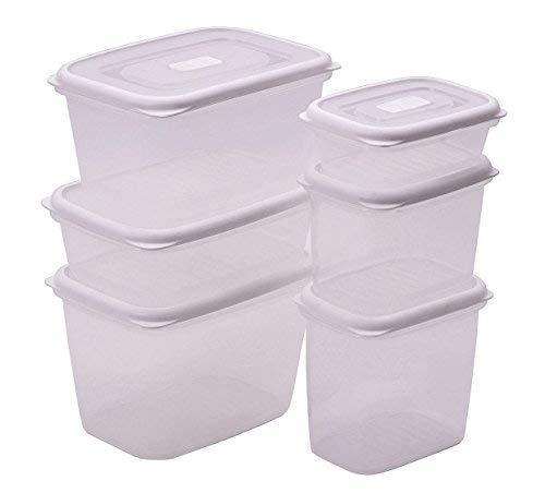 Spetebo Lot de 12 boîtes de conservation - Conviennent pour un usage alimentaire - Blanc/transparent - Passent au micro-ondes et au lave-vaisselle