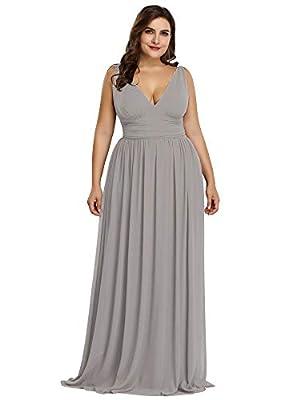 Ever-Pretty Womens Empire Waist Chiffon Elegant Formal Evening Bridesmaid Dresses for Wedding Plus Size Gray US 22