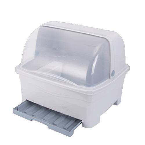 GAONAN Rack de drenaje a prueba de polvo, perchero de secado para platos, con tablero de drenaje y base, taza de cocina plato secado bandeja cubiertos plato desagüe Rejilla del tazón de drenaje