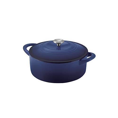 6 QT COVERED DUTCH OVEN - CAST IRON - PE - COBALT BLUE