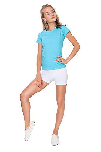 FUTURO FASHION® - Short Moulant de Yoga - Coton très Doux/Extensible - Tailles 36 à 50 - PSL5 - Blanc - 36