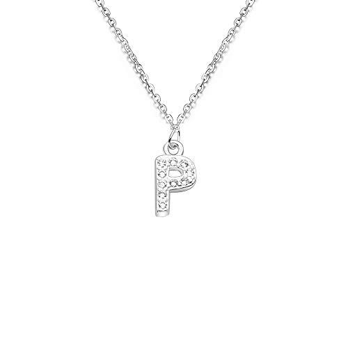 bifriend S925 Plata 26 Inicial inglés Carta Crystal Cadena Collar para Mujeres Chica Mejor Regalo (P)