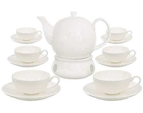 Buchensee Teeservice aus Fine Bone China Porzellan. Teekanne in fein-cremigem Weiß mit 1,5l Füllvolumen, 6 Teetassen, 6 Unterteller und Stövchen.