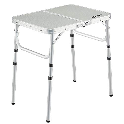 REDCAMP 2ft Folding Camping Table with Adjustable Height Portable Foldable Picnic Tables for Outdoor Indoor Kitchen Garden 3 Height 101924