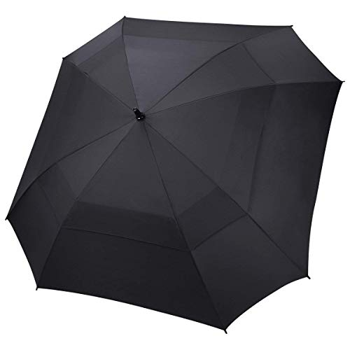 Extra Large Golf Umbrella Double Canopy Vented Square Umbrella Windproof Automatic Open 62 Inch Oversize Stick Umbrella for Men Women (Black)