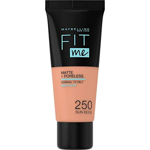 Maybelline New York - Fit Me, Base de Maquillaje Mate Afina Poros, Tono 250 Sun Beige - 30 ml