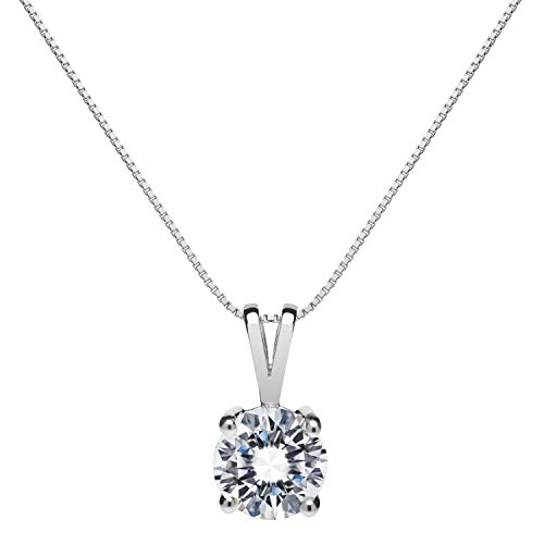 14K Solid White Gold Pendant Necklace   Round Cut Cubic Zirconia Solitaire...