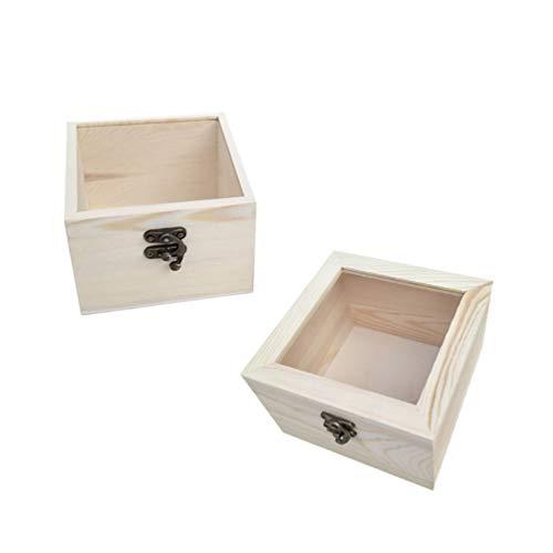 Amosfun Holz Glasvitrine für ewige Blumen Holz Schmuckvitrine Geschenkbox 2tlg