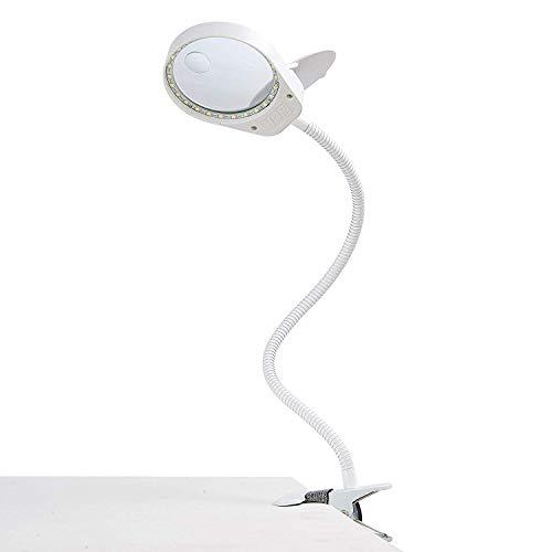 ENJOHOS 3X 10X Lámpara Lupa,Lupa con Luz Lámpara de Aumento con Luz y Pinza - para leer, hobbies, manualidades (Flip White, 3X 10X)