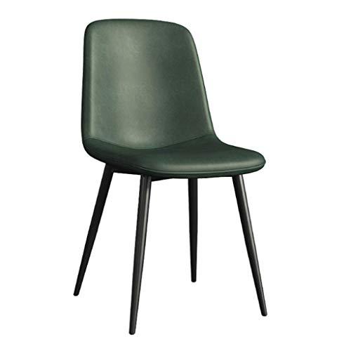 Dining Chair Wohnzimmer Schlafzimmer Zähler Büroecke Freizeit Rezeption Stuhl mit Faux Matte Leder Gepolsterte Sitz und Metallbeine, Armless YMIK (Color : Green)