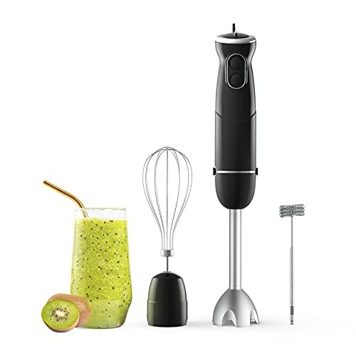Hom Geek 3-in-1 Stabmixer, Edelstahl Elektrische Stabmixer, Pürierstab mit Turbo funktion, 6 Einstellbaren Geschwindigkeiten, Schneebesen und Milchaufschäumer Mixer für Smoothies