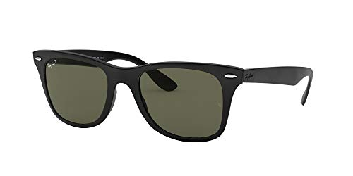 Ray-Ban RB4195 Wayfarer Liteforce Sunglasses, Matte Black/Polarized Green, 52 mm