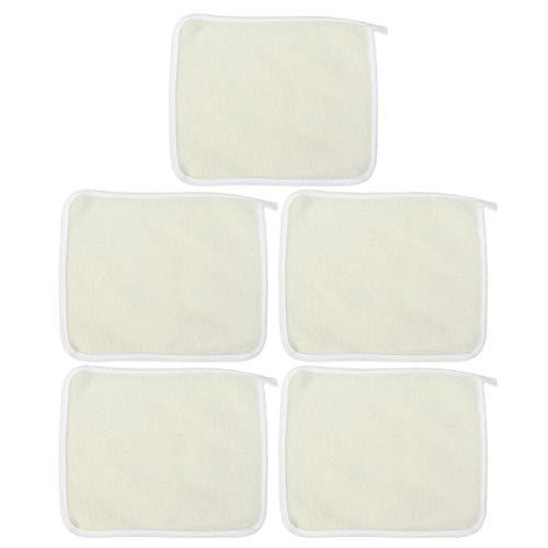 Healifty - Asciugamano esfoliante per doccia, resistente per viso e corpo, con passante corto, 5 pezzi (kaki)
